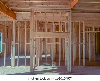 Interior Wood Framing for Residential Construction Project Based Upon Prefabricated Home Layout