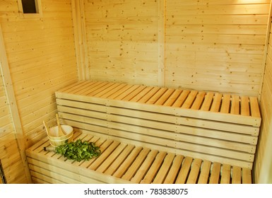 Interior of wooden finnish sauna. The Finnish sauna is a substantial part of their culture.