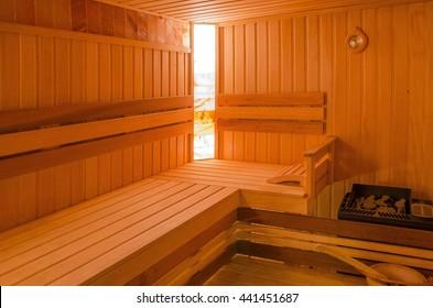 Interior of wooden sauna cabin