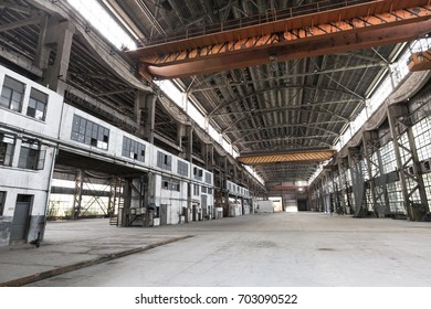 interior of workshop in abandoned steel factory
