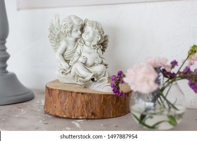Interior-a statuette in the form of two angels, home or office decoration.