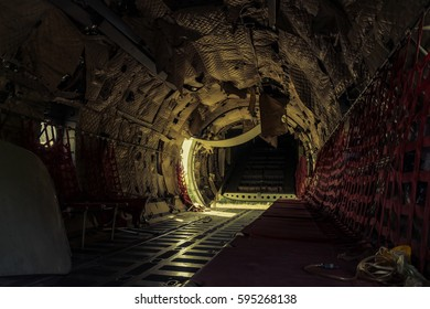 Interiors of abandoned airplane, old crashed aircraft, plane wreck in graveyard.Conception for use as background image