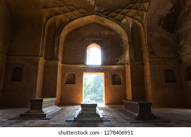 Interiors of Afsarwala Tomb, in the complex of Humayun's tomb, New Delhi, India.