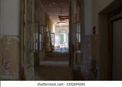 Interiors of Ferri building, the judicial psychiatric hospital special area.  Abandoned asylum of Volterra (manicomio di Volterra), Tuscany, Italy 18/12/2011. This hospital was shut down in 1978.