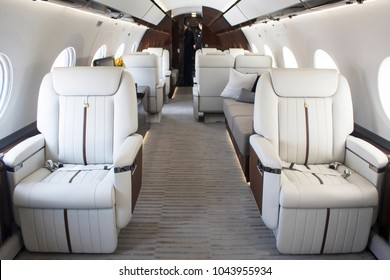 Interiors inside a private luxury business jet