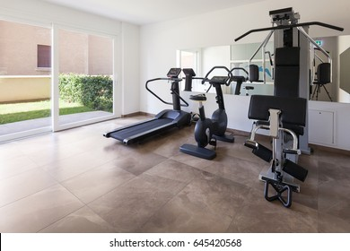 Interiors of a modern apartment, gym