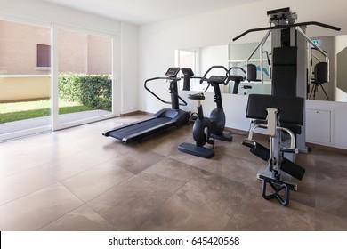 Interiors of a modern apartment, gym
