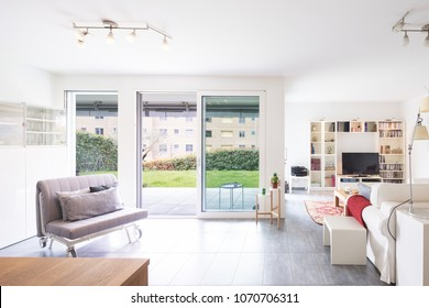 Interiors of modern furnished apartment, kitchen