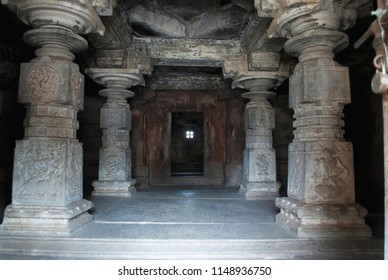 Interiors of one of the Shiva temple, Hemakuta Hill, Hampi, Karnataka.Sacred Center.