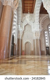 Interiors (praying hall) of the Mosque of Hassan II in Casablanca, Morocco