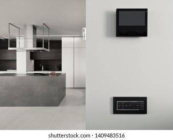 interiors shots of a modern apartment in the foreground the electirc switch on the background the kitchen