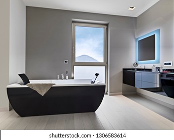 interiors shots of a modern bathroom in the foreground the free standing bathtub and the washbasin furniture
