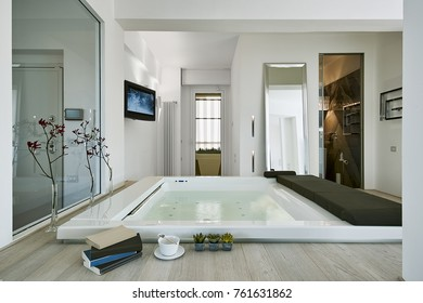 interiors shots of a modern bathroom in the foreground the whirlpool bathtub