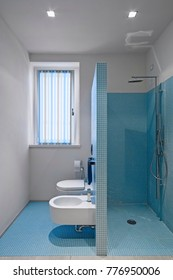 interiors shots of a modern bathroom with walls and floor coated of blue mosaic tile , in the foreground the masonry shower cubicle , the bidet and the toilet bowl