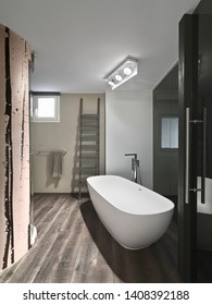 interiors shots of a modern bathroom with wooden floor in the foreground the freestanding bathtub