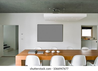 interiors shots of a modern dining room in the foreground the dining table whit the white chairs
