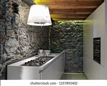 interiors shots of a modern kitchen furniture in the rustic room with wooden ceiling and the stone walls