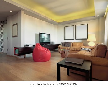 interiors shots of a modern living room in the foreground the brown leather sofa and red leather armchairs the flor is made of hardwood