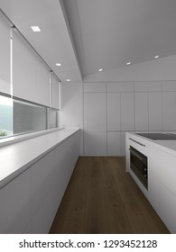 interiors shots of a modern white kitchen with parquet flooring