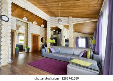 Interiors in a wooden house.