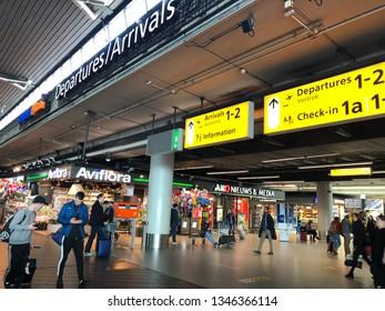 Interiror of Schiphol Airport in Amsterdam, Netherlands.