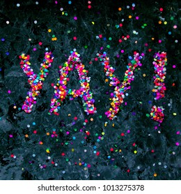 Interjection 'yay!' made of colorful confetti on black textured background.
