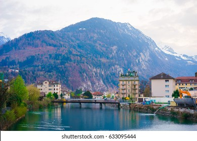 Interlaken lake overlooking the town and the bridge, Switzerland