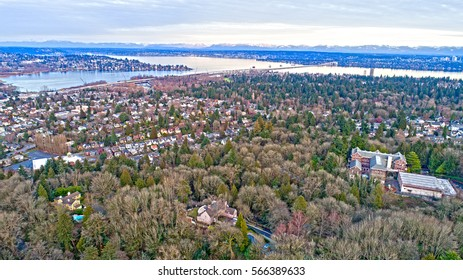 Interlaken Park and Montlake Neighborhood Seattle Lake Washington 520 Bellevue Aerial View