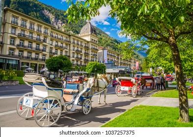 INTERLAKEN, SWITZERLAND, 17.06.2016: Street of Interlaken, Switzerland