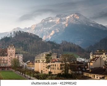 Interlaken Switzerland Beautiful Cityscape Skyline City Panorama under Clear Blue Sky at Sunrise in Summer Morning