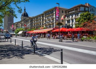 INTERLAKEN, SWITZERLAND: July 20 2016: Tourists doing summer activity in famous Interlaken town, Switzerland