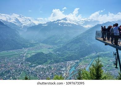 Interlaken, Switzerland - May 05, 2018 : people on the top of the Harder Kulm
