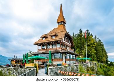 INTERLAKEN, SWITZERLAND - SEPTEMBER 28, 2015 : Harder Kulm top view  point  in Interlaken, Switzerland.
