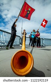 INTERLAKEN ,SWITZERLANDS - June 10 ,2018 : Swiss people using alphorns traditional music instrument in public Schilthorn Piz Gloria for Tourist people.