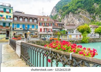 Interlaken town with Thunersee river in Switzerland