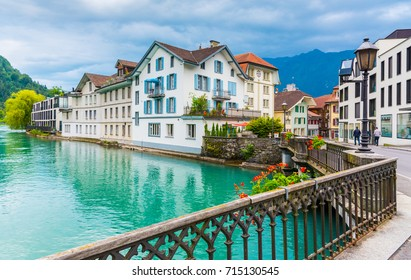 Interlaken town with Thunersee river, Switzerland