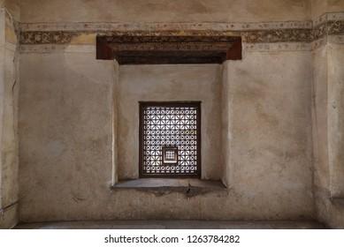 Interleaved grunge wooden window (Mashrabiya), Medieval Cairo, Egypt