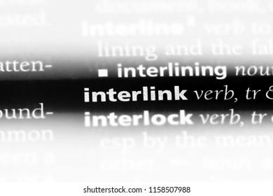 interlink word in a dictionary. interlink concept.