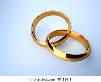 Interlocked wedding rings over blue background - 3d render