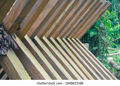 interlocking pieces of wood for drying in the Colombian Amazon