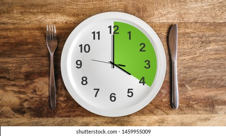 Intermittent fasting four hour feeding window concept with green zone and clock on plate