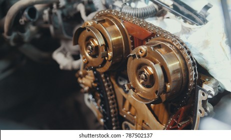 The internal combustion engine, repair at car service, details under the hood of the car
