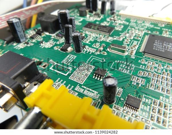 Internal Details Motherboard Green Circuit Board Stock Photo