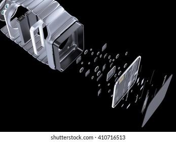 Internal inside electronic smart watches. 3D illustration. High resolution.