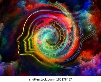 Internal Recurrence series. Arrangement of human profile and fractal forms on the subject of inner reality, poetry, magic, imagination, thinking and dreaming