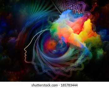 Internal Recurrence series. Composition of human profile and fractal colors on the subject of inner reality, mental health, imagination, thinking and dreaming