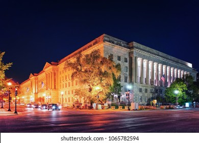 Internal Revenue Service Building in Washington D.C., USA. It is the headquarters for the Internal Revenue Service. It is located in the Federal Triangle and was built in 1936.