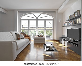 internal shots of a modern living room with fabric sofa and bookcase overlooking on the terrace