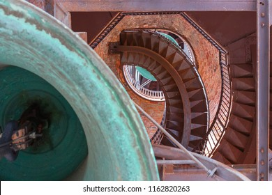 internal structure of the bell tower with stairs and bell