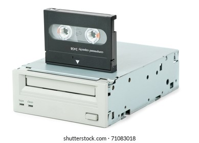 Internal tape drive unit and cassette  isolated on the white background